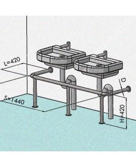 Защита слива для 2х раковин Р02, 1440х420х420, d-30, нержавеющая шлифованная сталь