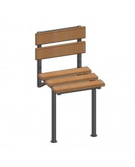 Стульчик стационарный для душевой СК, 400х420х775, нержавеющая полированная сталь, дерево