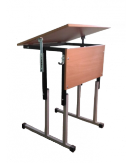 Стол ученический одноместный регулируемый по высоте и углу наклона столешницы №1-3