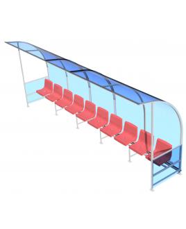 Скамейка для запасных игроков, на 10 мест с козырьком