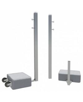Бадминтонные стойки из алюм. квадратного профиля 80х80 мобильные с противовесами, на колесах